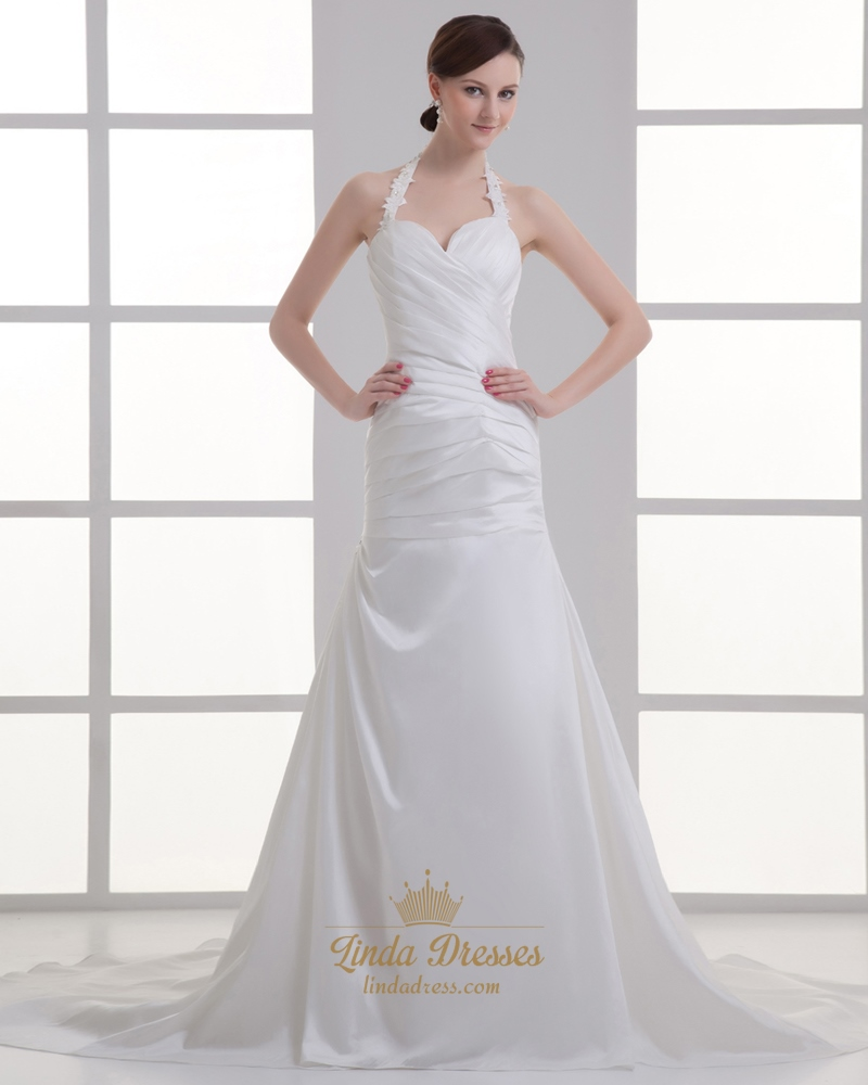 Ivory Halter Neck A-Line Sweep Train Wedding Dresses With