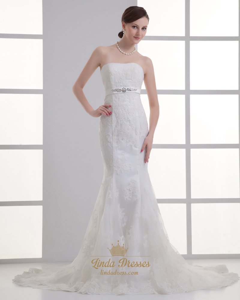 Ivory lace mermaid strapless wedding dress with beaded for Wedding dress with waistband