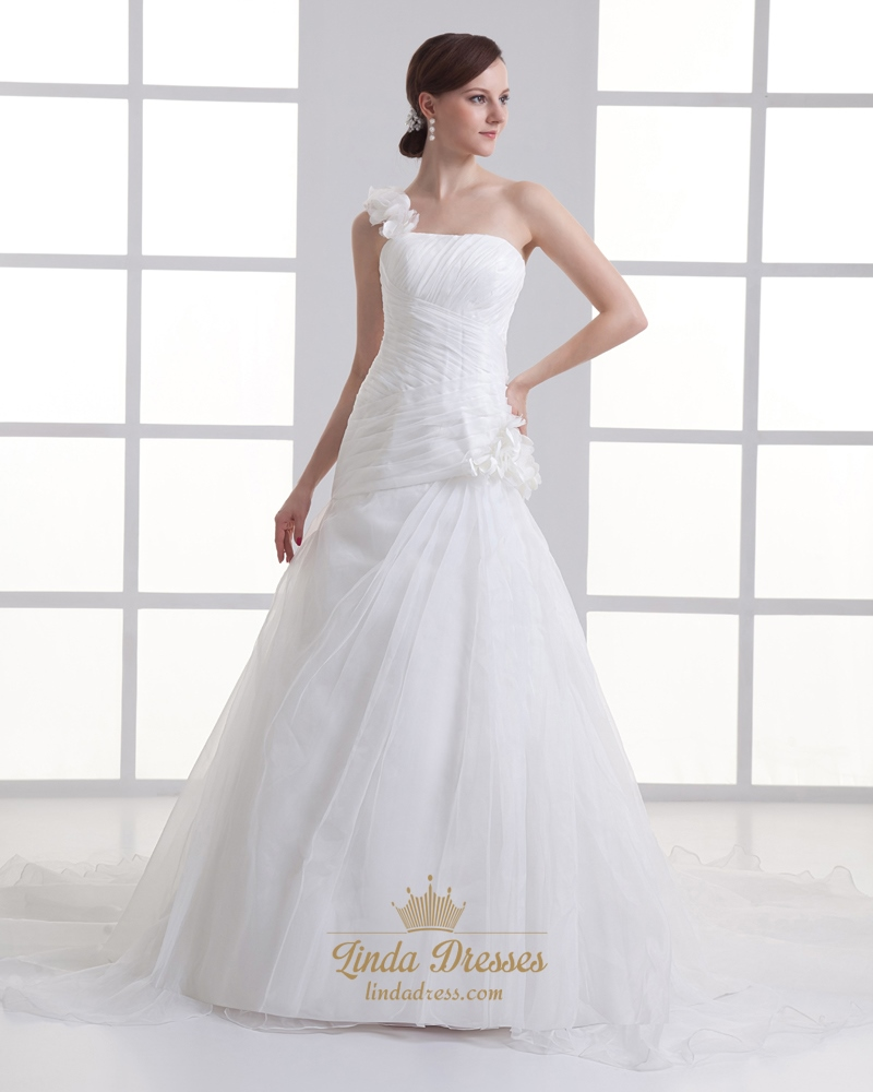 Ivory One Shoulder Flower Strap A Line Wedding Dresses With Ruching Linda D
