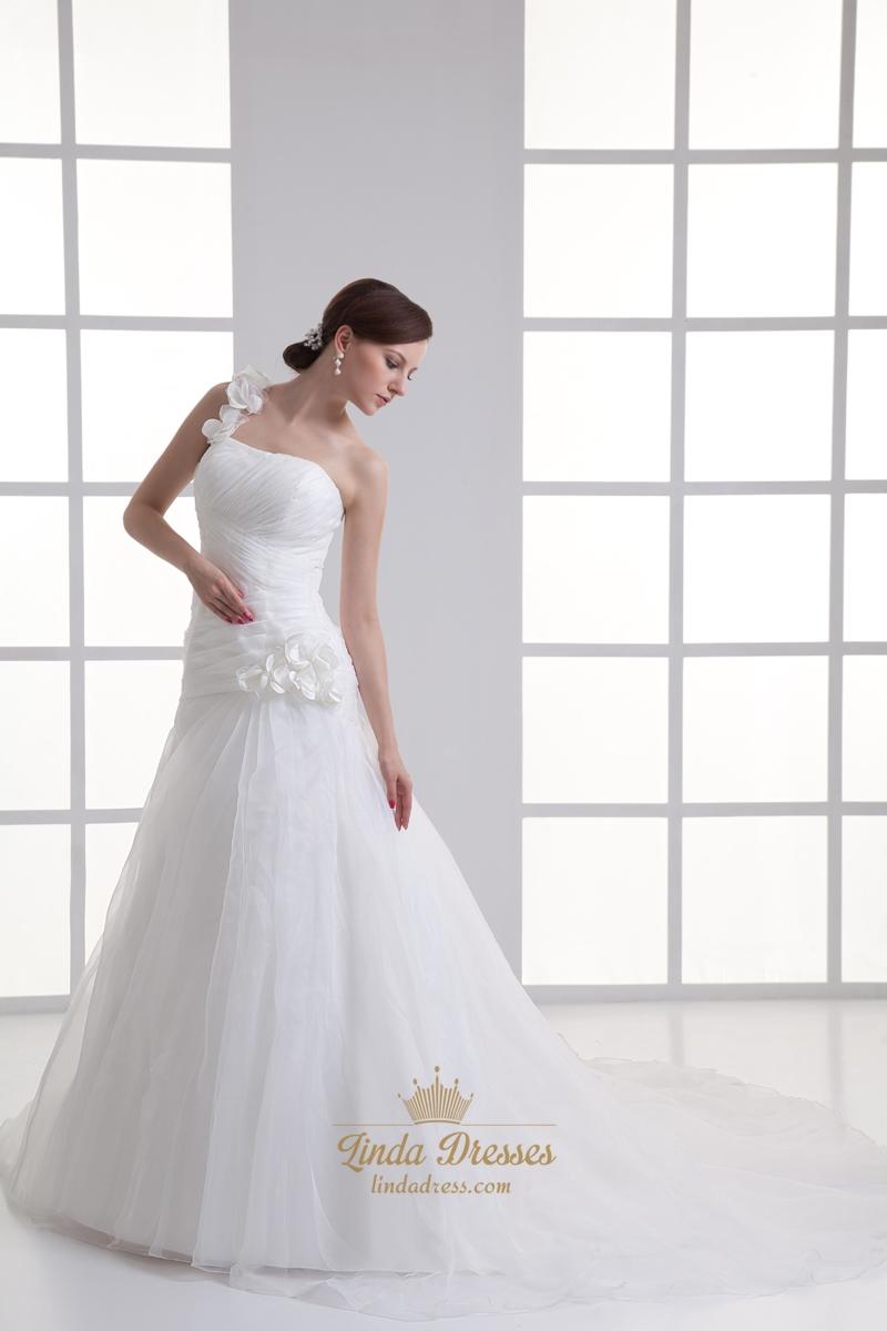 Ivory one shoulder flower strap a line wedding dresses for One strap wedding dress
