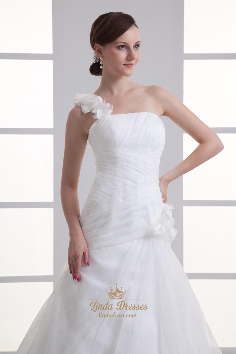 Ivory one shoulder flower strap a line wedding dresses for A line wedding dress with ruching