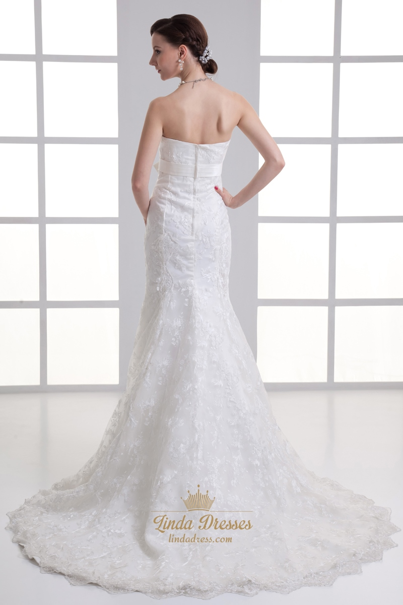 Ivory mermaid strapless lace empire wedding dresses with for Mermaid wedding dress with long train