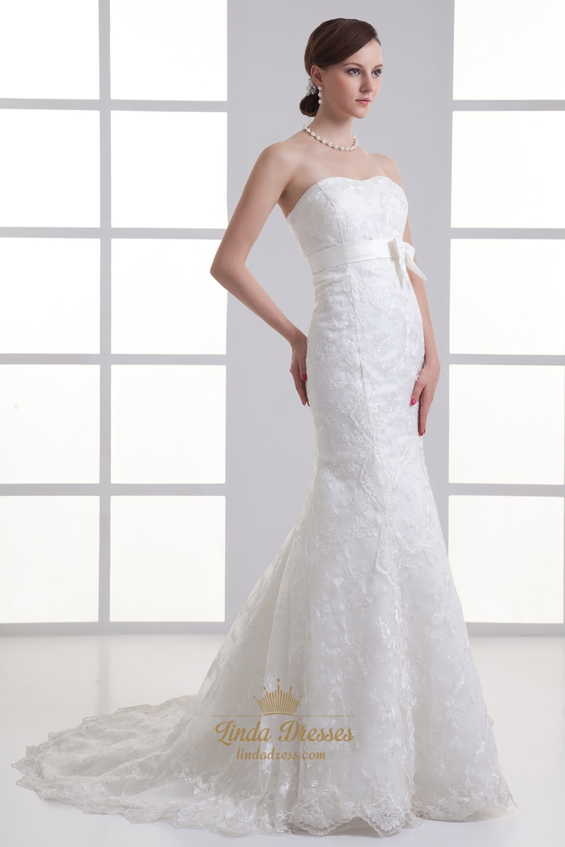 Strapless mermaid wedding dresses with long train for Strapless wedding dresses with long trains