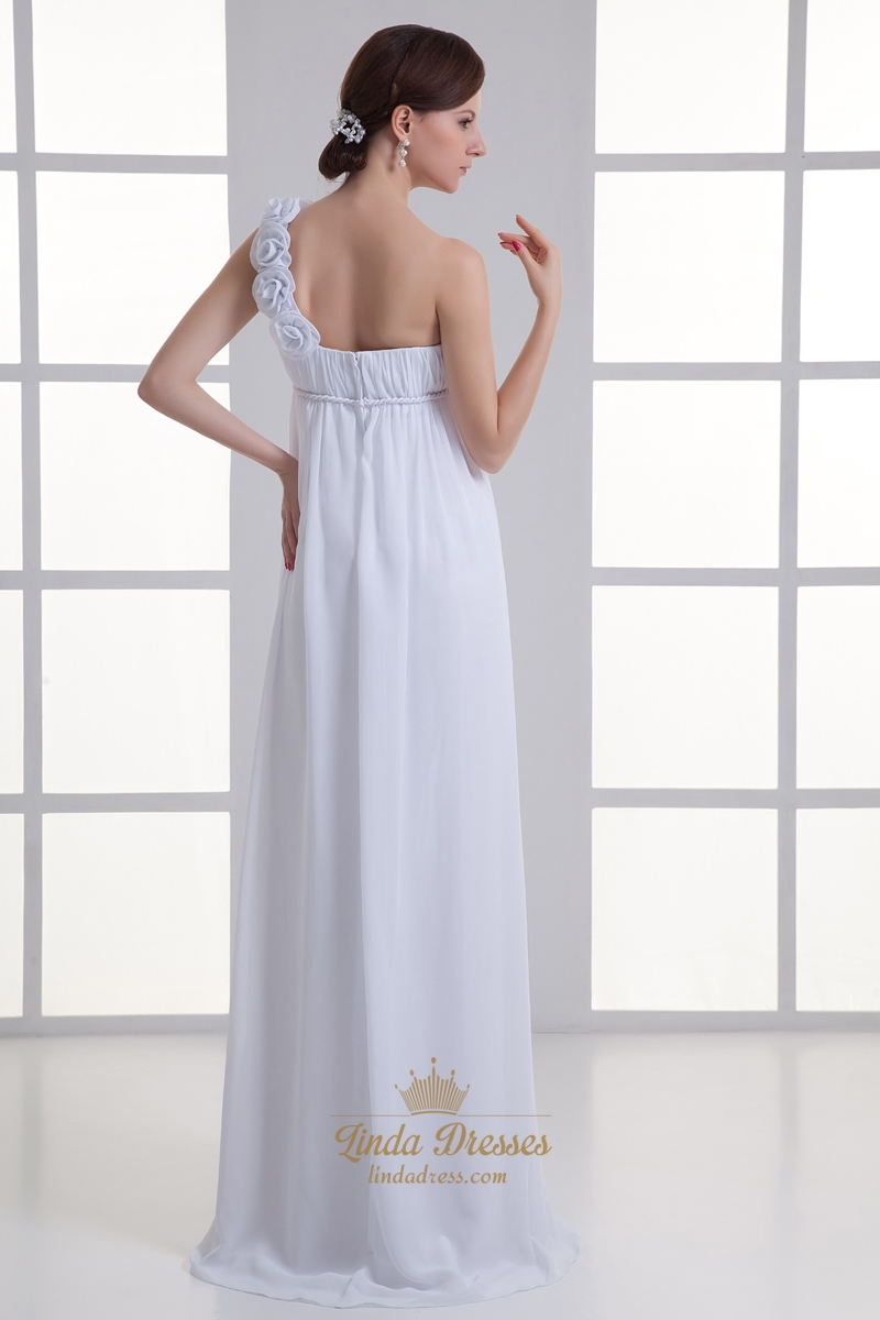 White chiffon one shoulder flower strap empire waist for One strap wedding dress