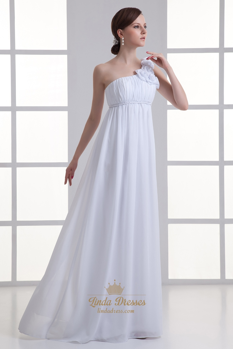 White Chiffon One Shoulder Flower Strap Empire Waist Wedding Dresses ...