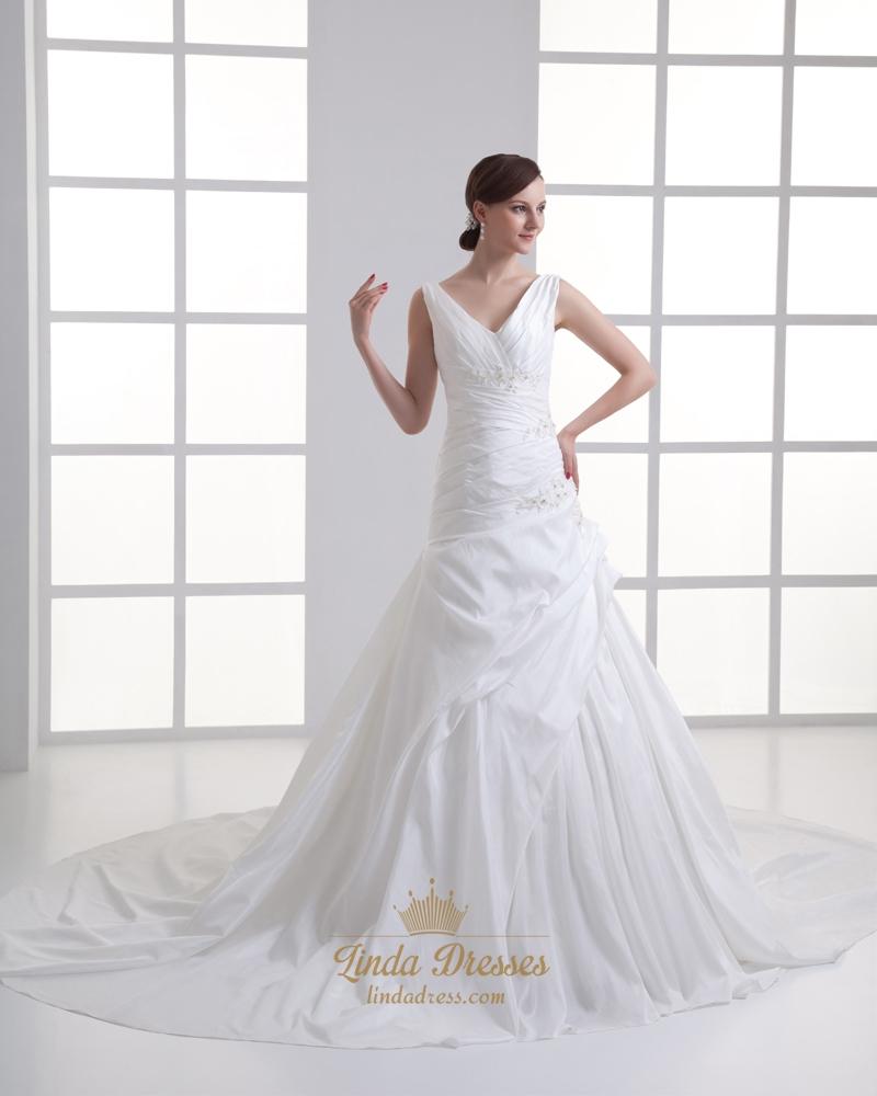Ivory a line v neck taffeta wedding dress with floral for A line taffeta wedding dress