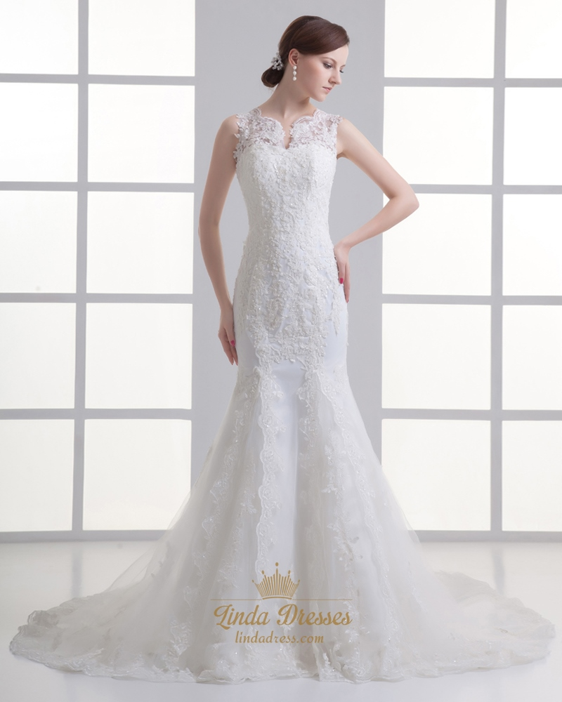 Ivory mermaid lace illusion neckline wedding dress for for Petite bride wedding dress
