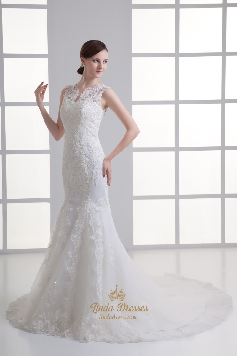 Ivory mermaid lace illusion neckline wedding dress for for Ivory mermaid wedding dresses