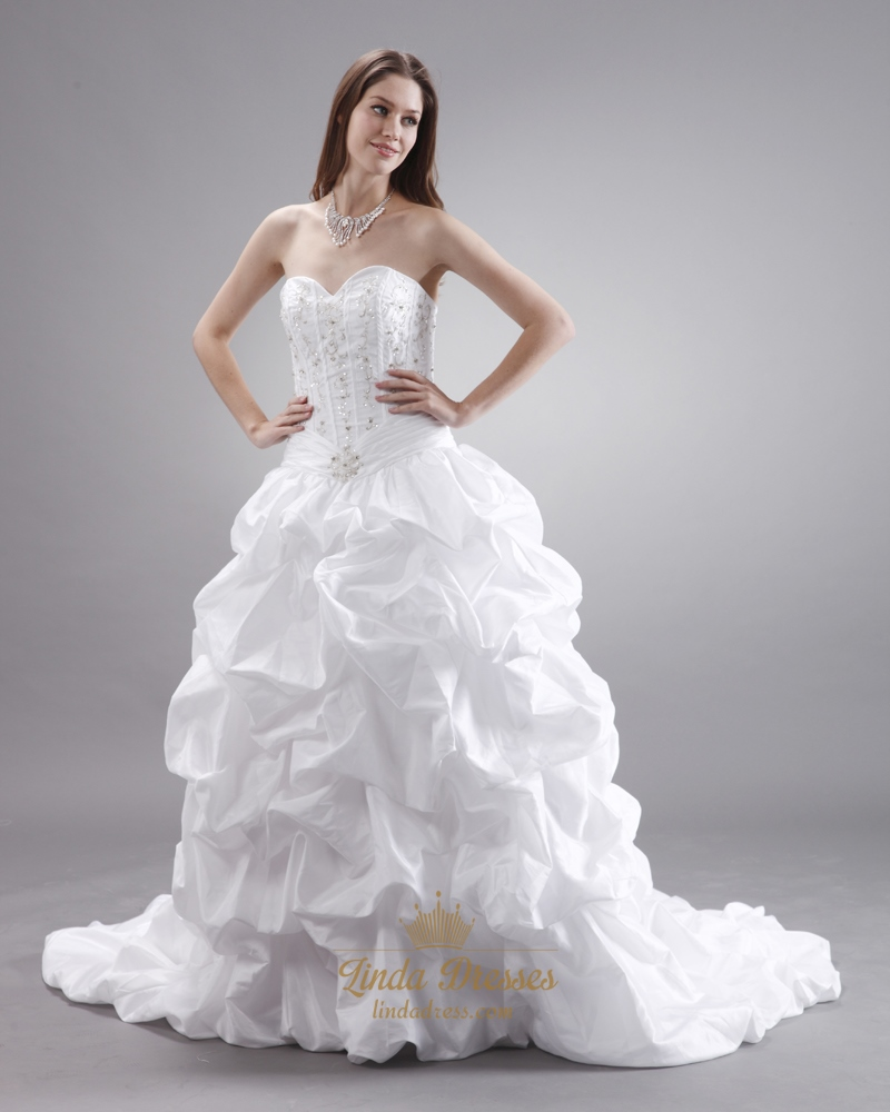 White Taffeta Pick Up Sweetheart Strapless Wedding Gown With ...