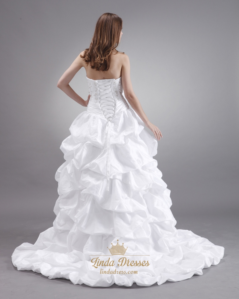 White taffeta pick up sweetheart strapless wedding gown for Pick up wedding dress