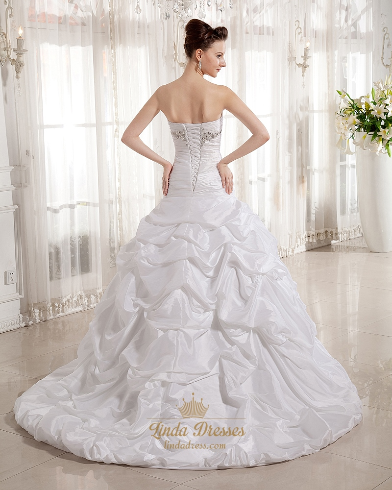 Ivory sweetheart strapless taffeta pick up wedding dress for Strapless taffeta wedding dress