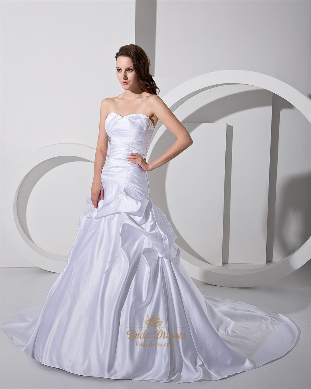 White sweetheart strapless satin pickup wedding dress with for White strapless wedding dresses