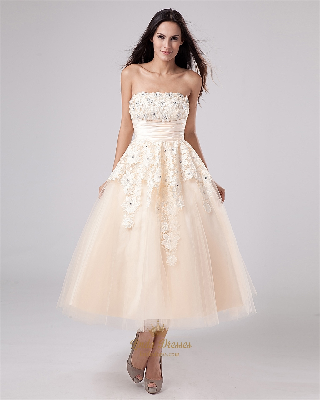 champagne tea length strapless tulle wedding dress with