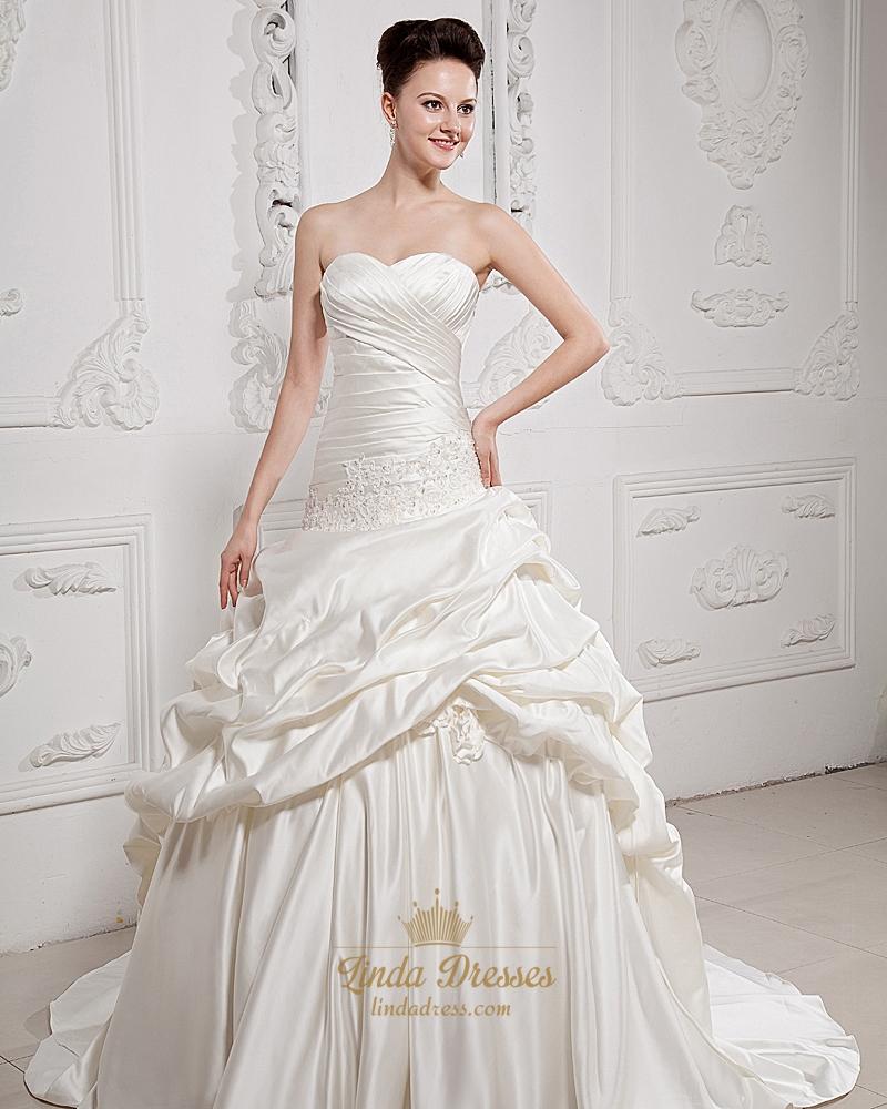 Ivory Sweetheart Satin Aline Pick Ups Wedding Dress With