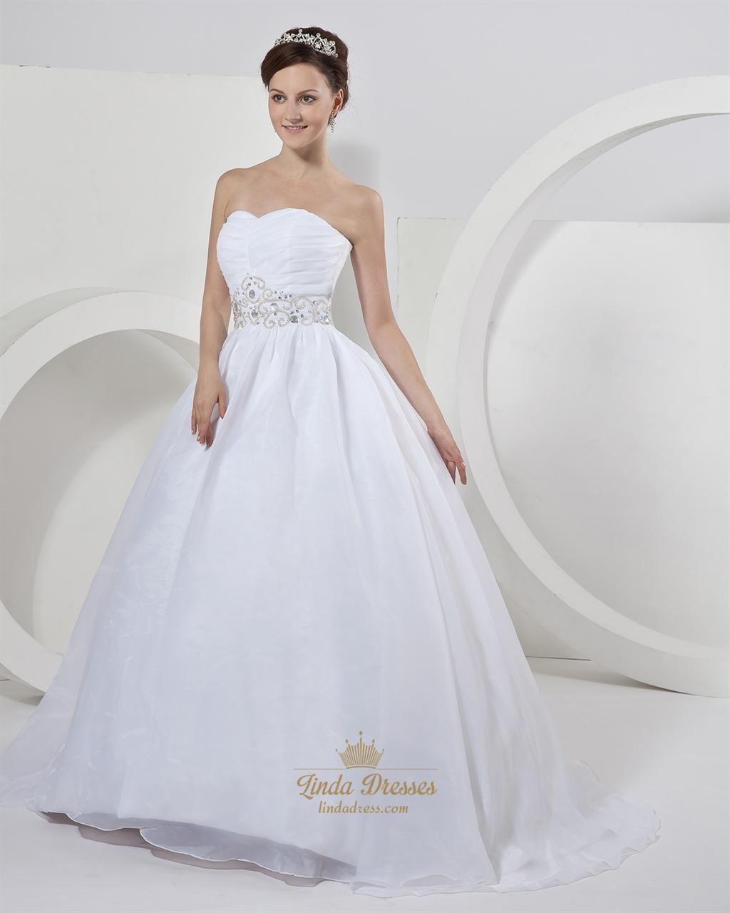 White organza ball gown strapless wedding dresses with for White strapless wedding dresses
