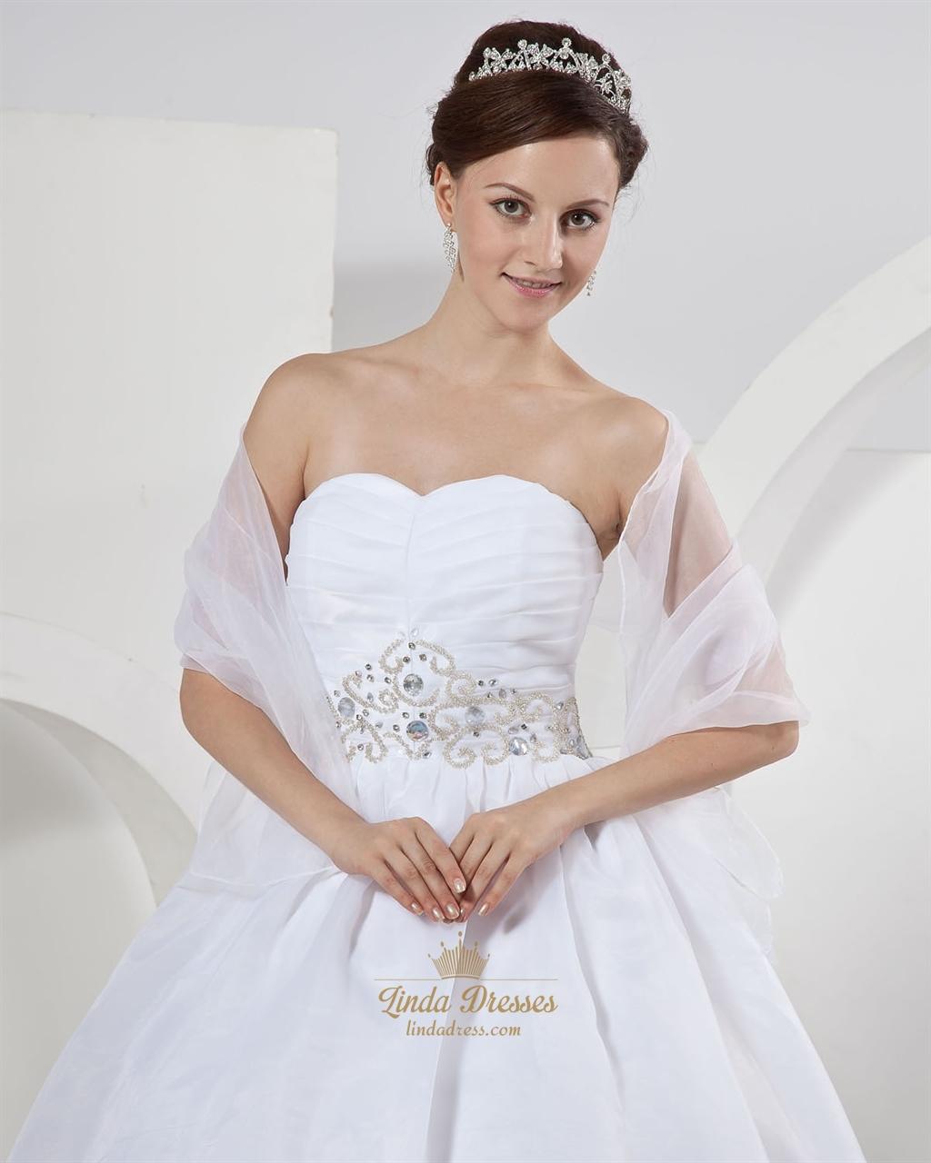 White organza ball gown strapless wedding dresses with for Wedding dresses with gold beading