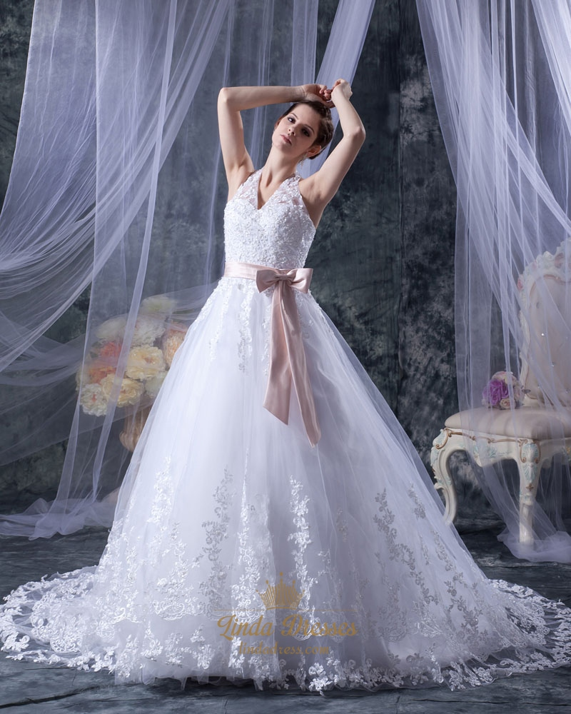 White Lace A Line Halter Chapel Train Wedding Dress With Pink Sash ...