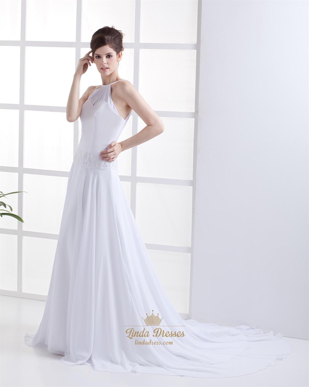 White jewel neckline chiffon beach wedding dress with for Chiffon wedding dresses for beach wedding