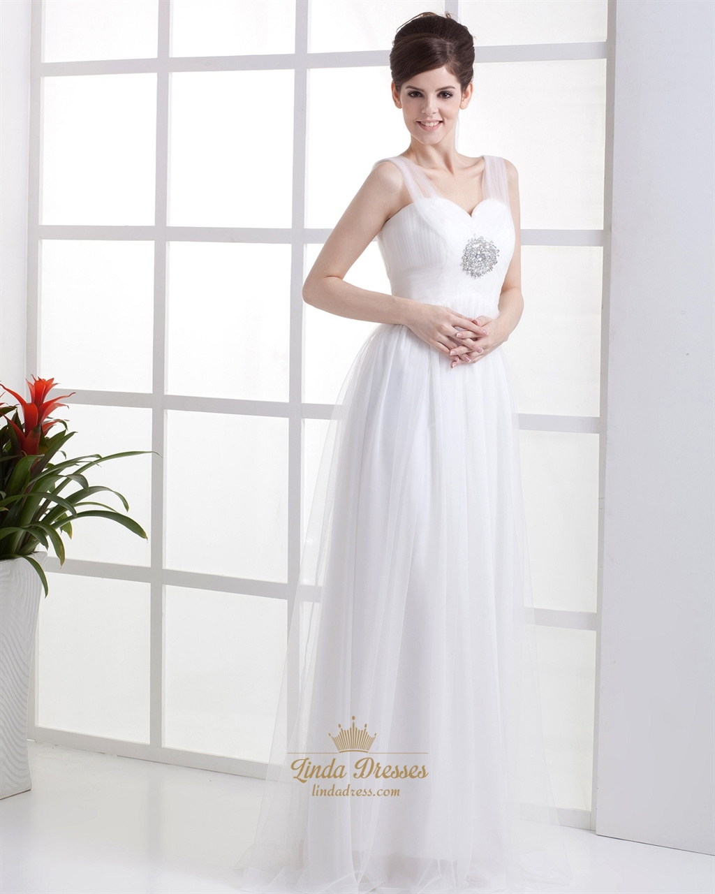 Elegant Simple Ivory Tulle Empire Waist Wedding Dress With Beading ...