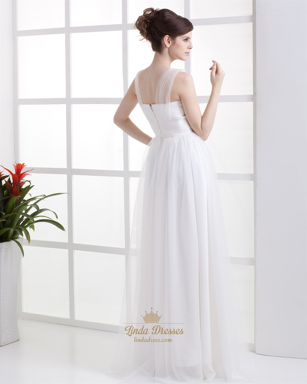 Elegant simple ivory tulle empire waist wedding dress with for Empire waist tulle wedding dress