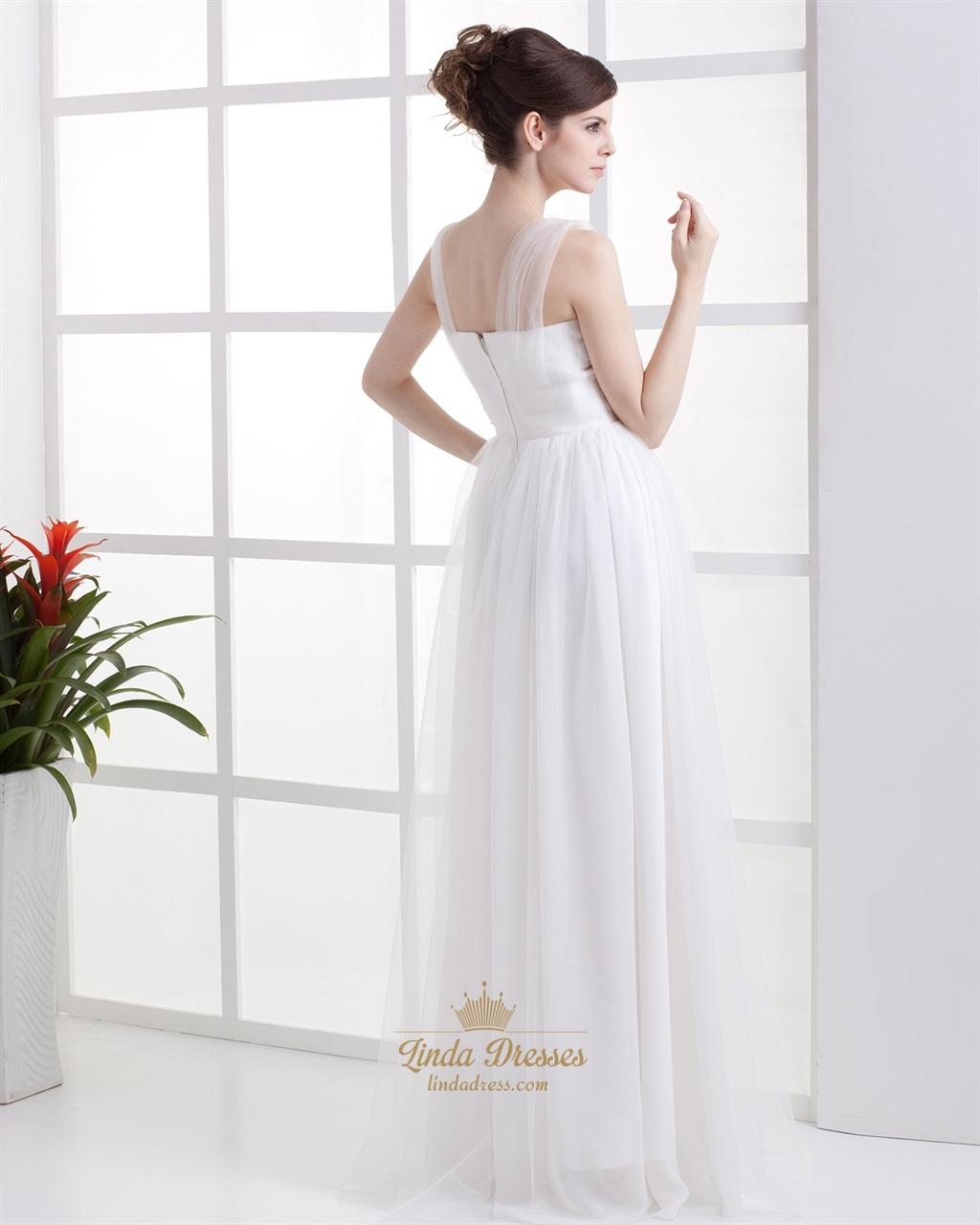 Elegant Simple Ivory Tulle Empire Waist Wedding Dress With