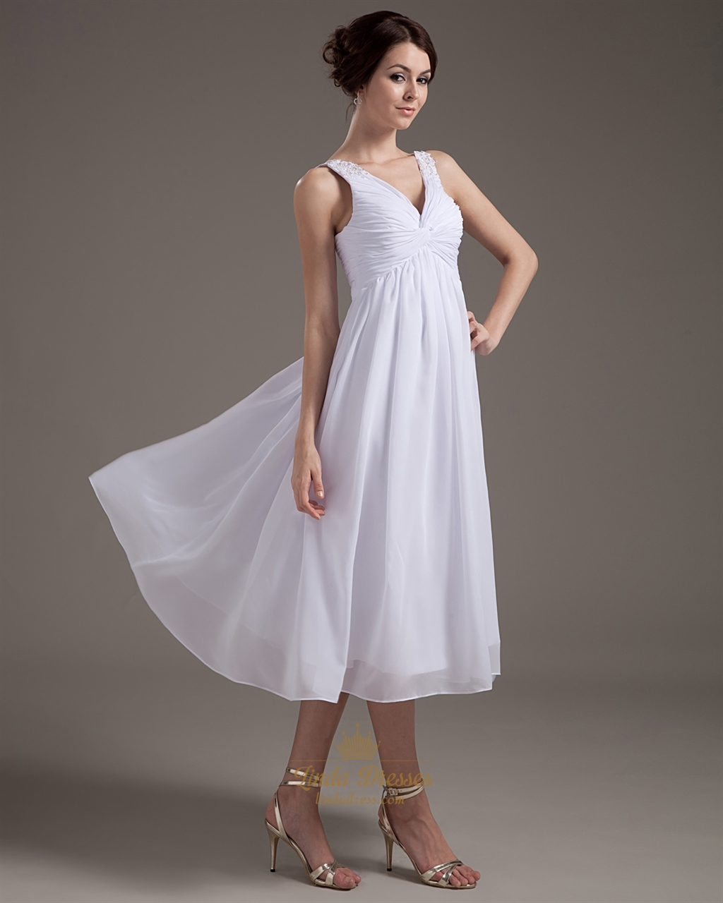 White V Neck Tea Length Chiffon Wedding Dress With Beaded