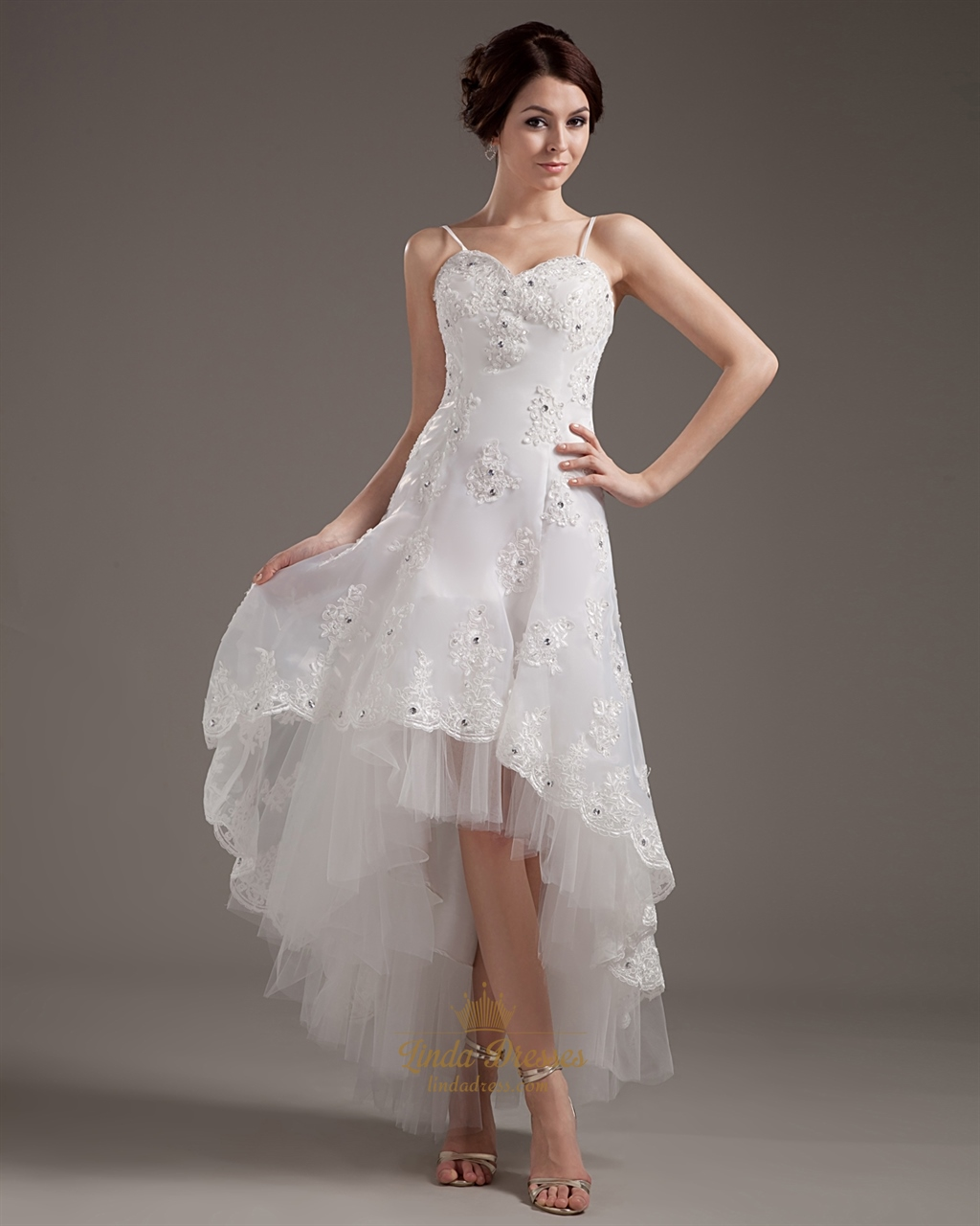 Wedding Dresses: Ivory Organza Lace Applique Spaghetti Strap High Low
