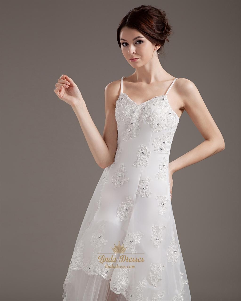 Ivory organza lace applique spaghetti strap high low for Spaghetti strap low back wedding dress