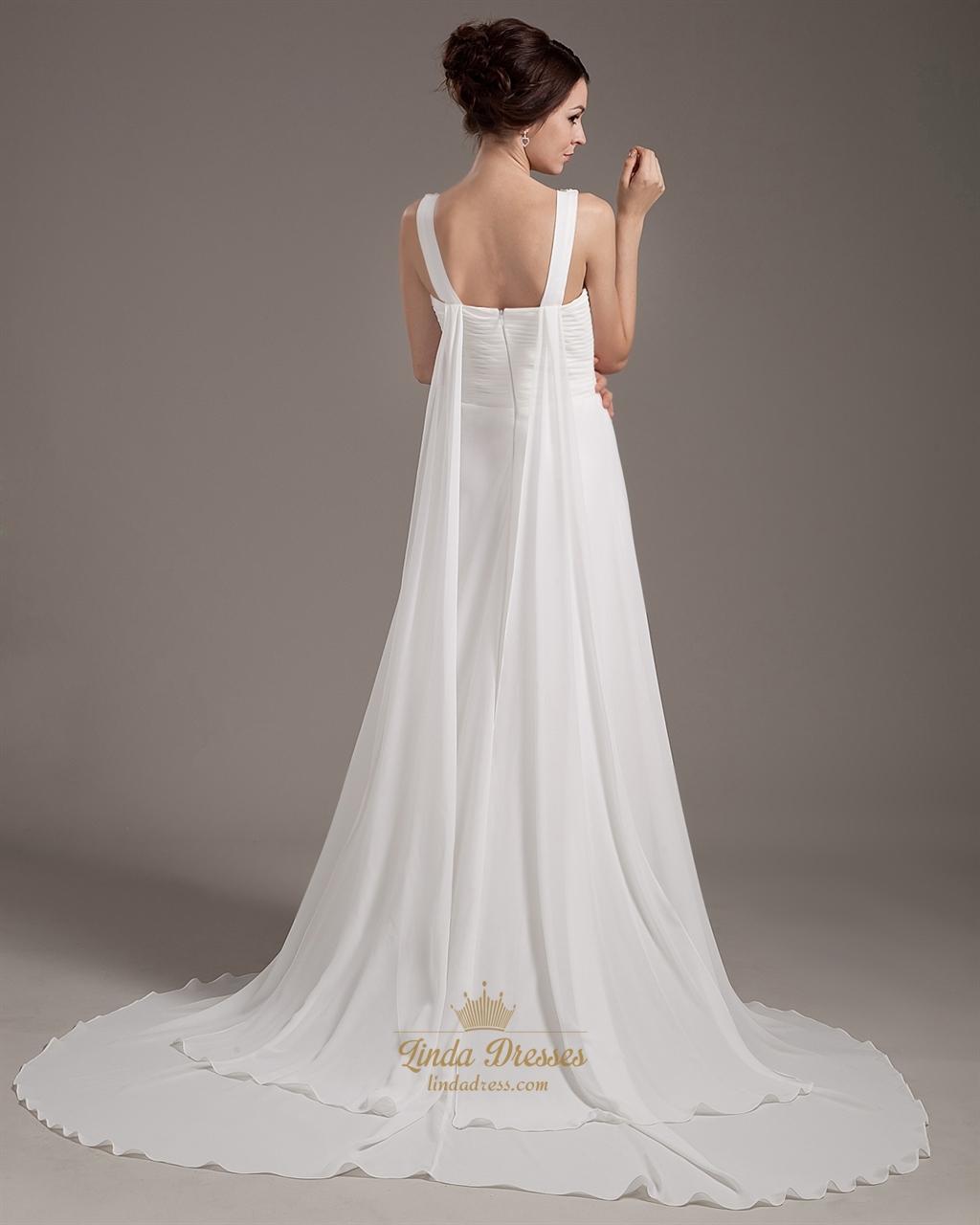 Ivory chiffon beach a line v neck watteau wedding dress for V neck a line wedding dresses