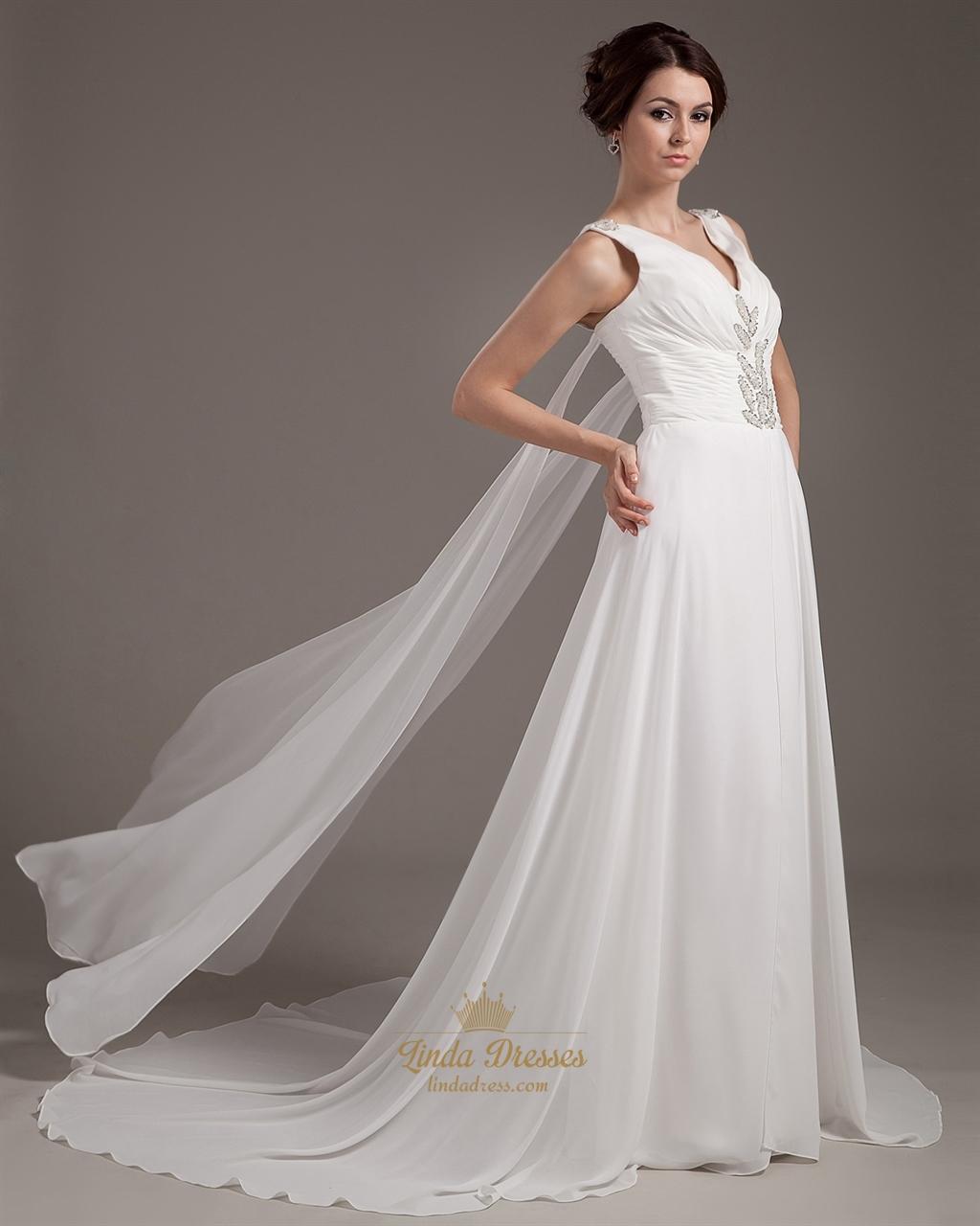 Wedding Gown Chiffon: Ivory Chiffon Beach A Line V Neck Watteau Wedding Dress
