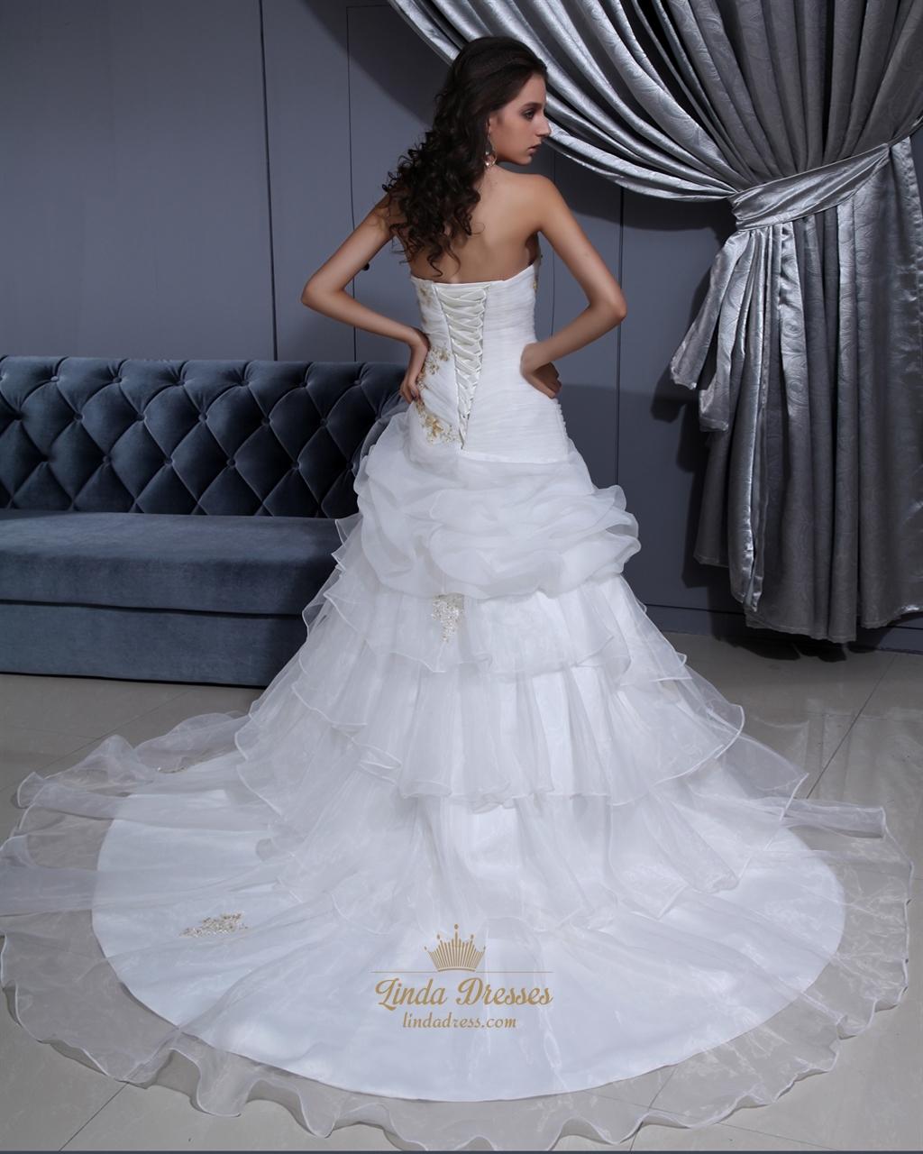 White Strapless Organza Layered Skirt Wedding Dress With