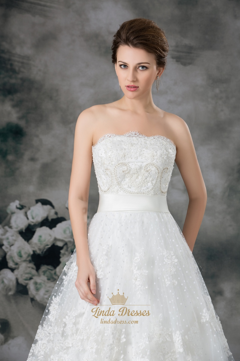 Ivory Elegant A Line Strapless Floor Length Chapel Lace