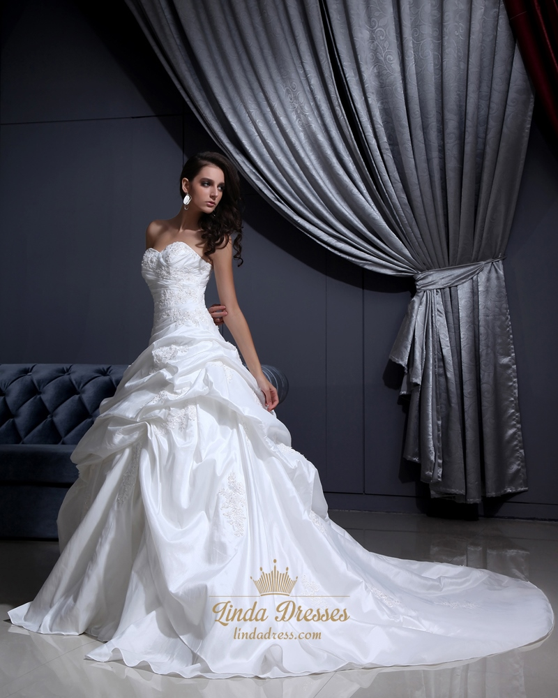 Ivory sweetheart pick up wedding dress with floral for Pick up wedding dress