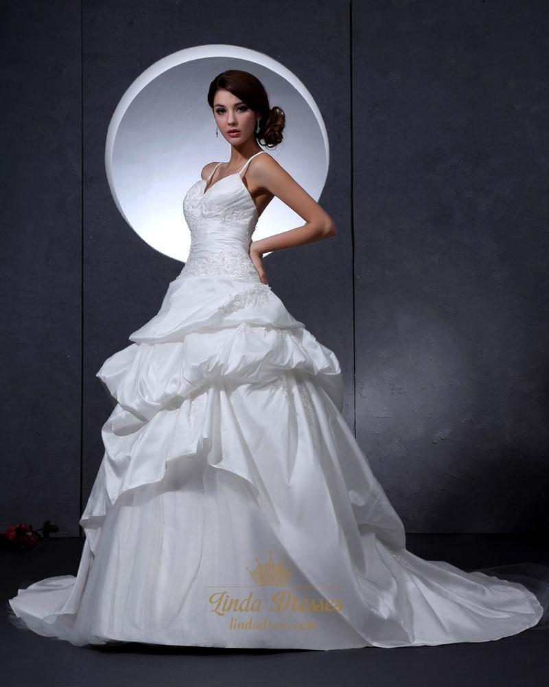 Ivory spaghetti strap v neck taffeta wedding dress with for Wedding dress spaghetti strap