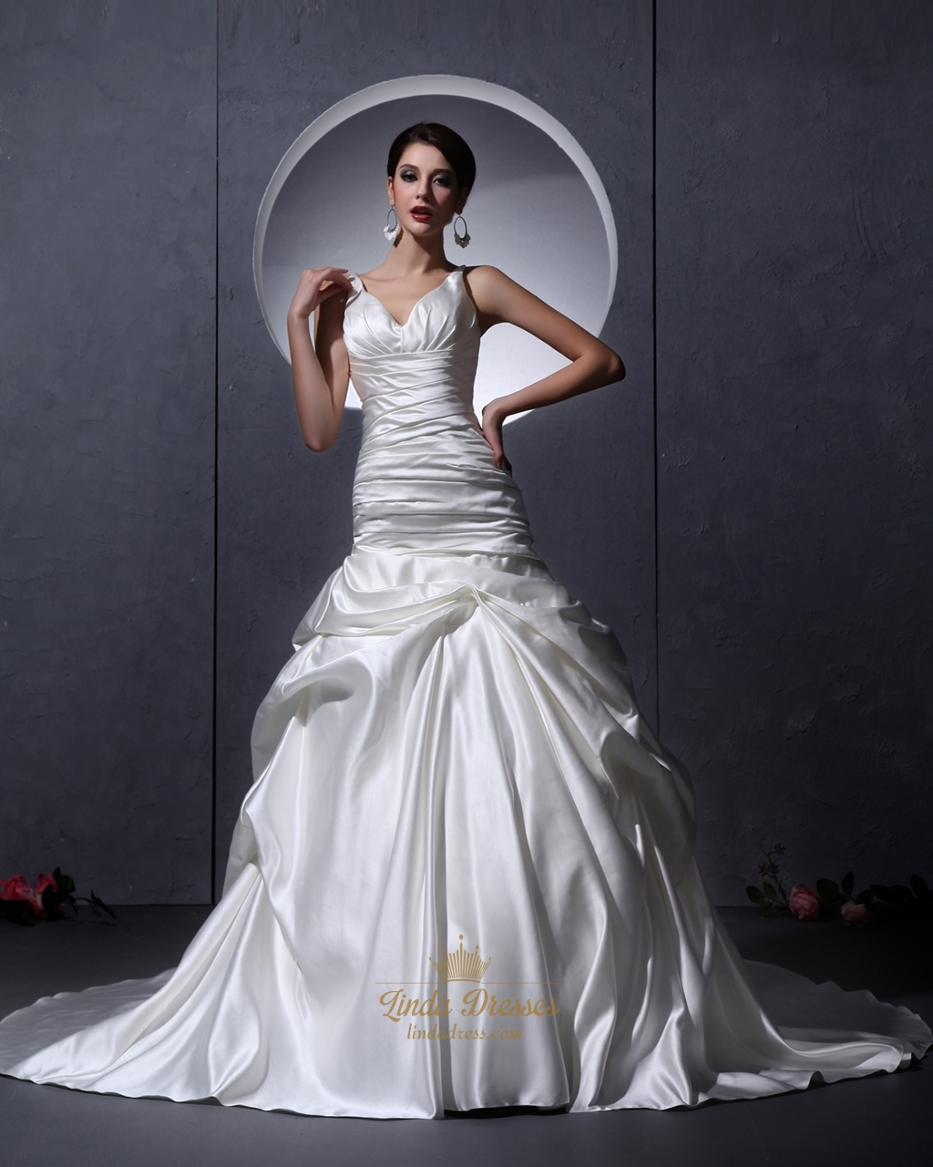 Ivory Satin V Neck A Line Wedding Dress With Ruching And Dropped