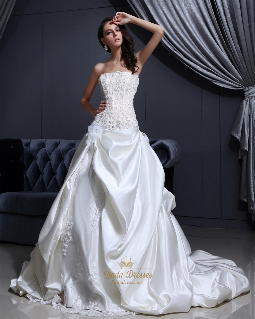 Ivory strapless satin pick up wedding dresses with for Pick up wedding dress