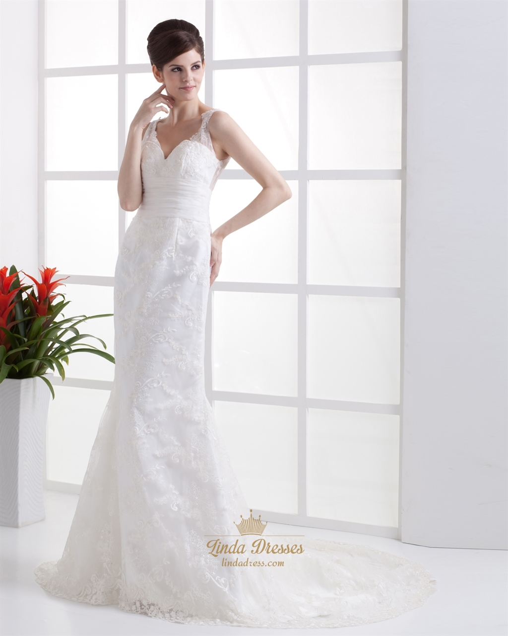 Elegant ivory v neck lace mermaid wedding dress with for Lace button back wedding dress