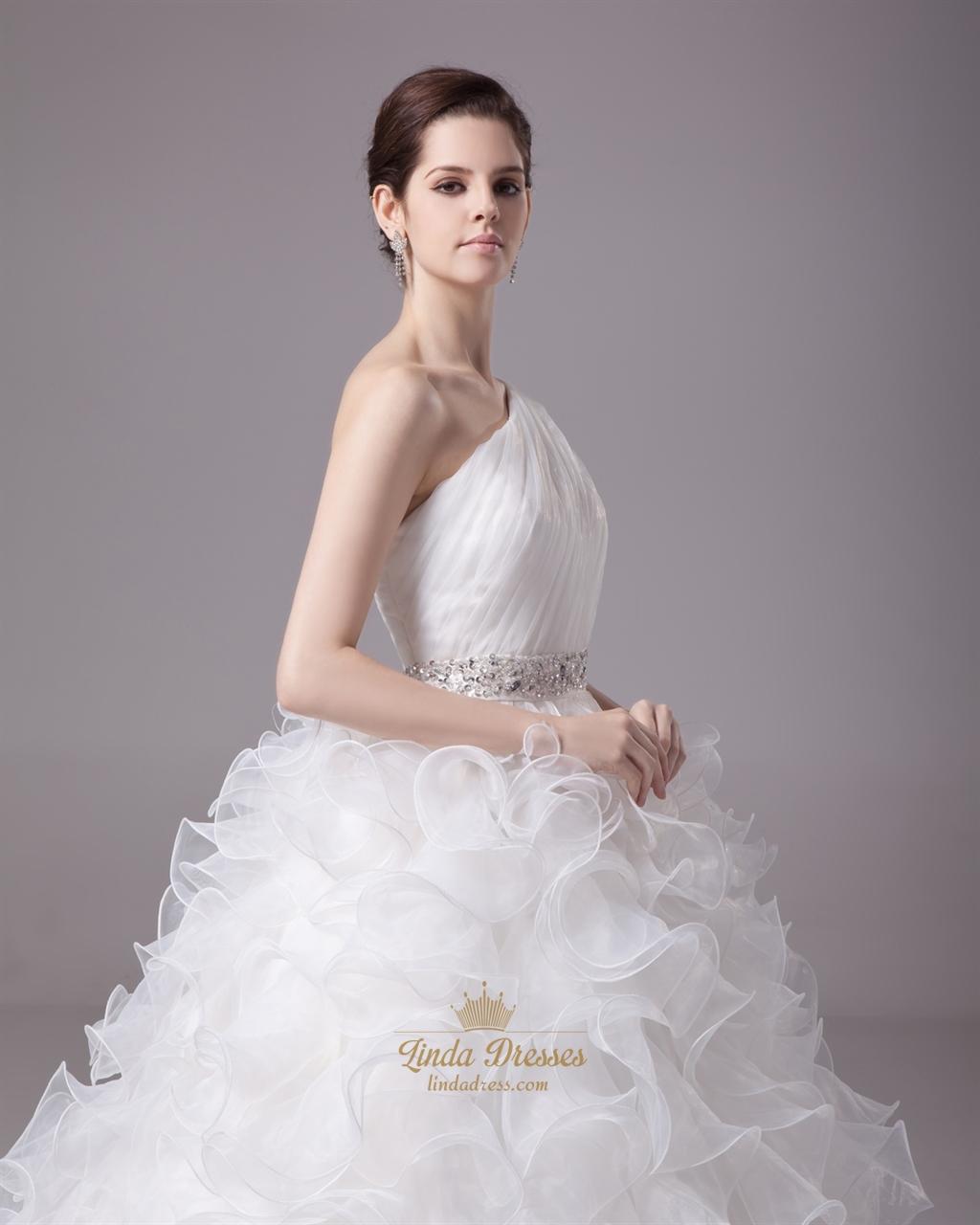 Beautiful Ivory One Shoulder Organza Ruffle Skirt Beaded Wedding ...