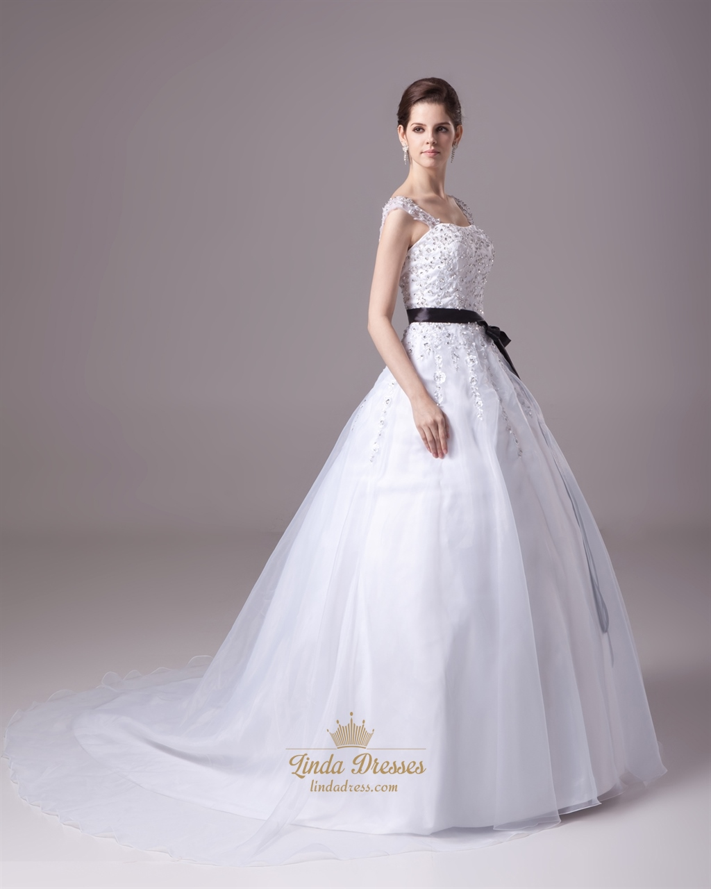 White beaded lace applique organza a line wedding dress for White wedding dress with black sash
