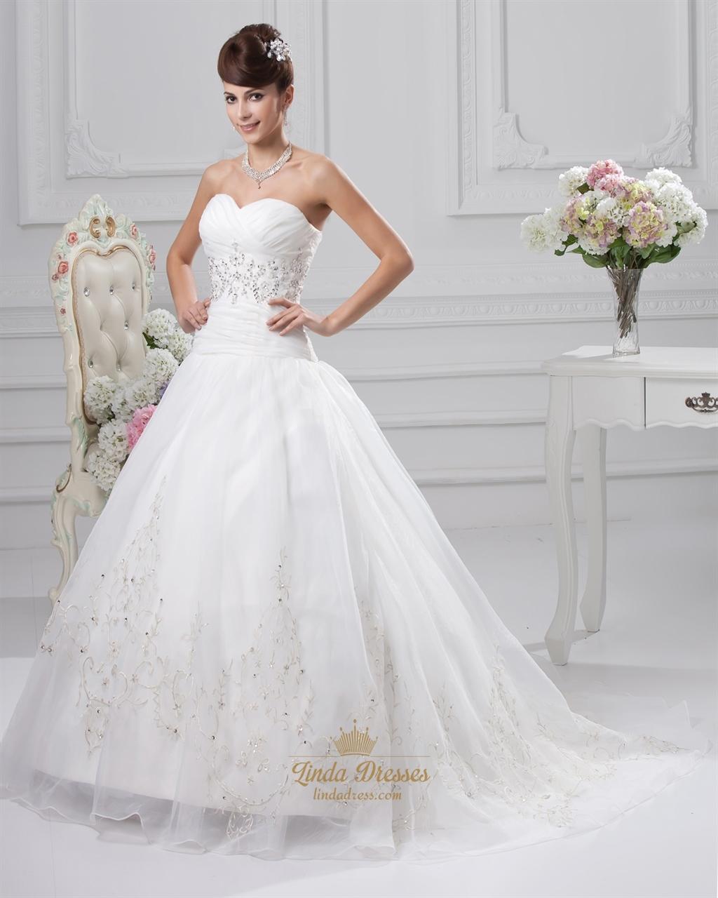 Ivory wedding dresses sweetheart neckline princess with