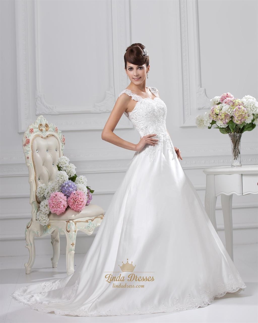 Beaded ivory a line sweetheart wedding dress with straps for A line sweetheart lace wedding dress