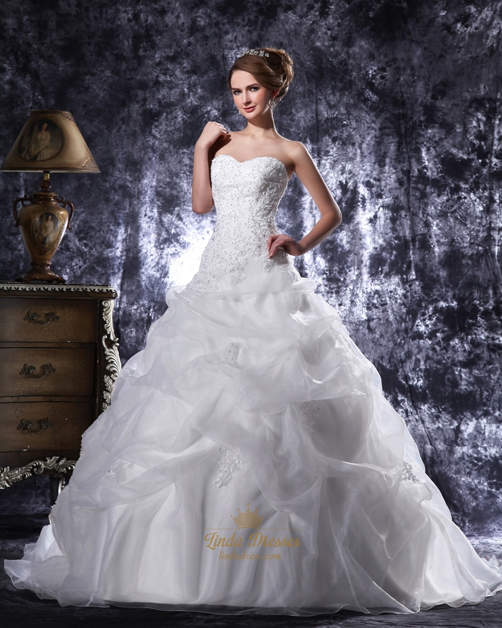 Ivory Beaded Lace Applique Pick Up Ball Gown Sweetheart