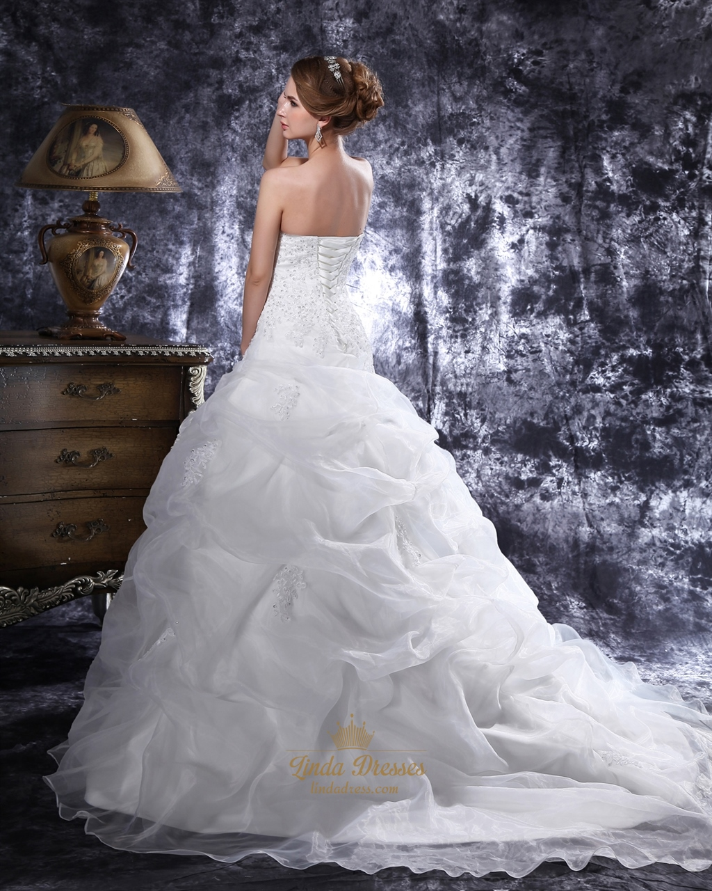Ivory beaded lace applique pick up ball gown sweetheart for Ivory beaded wedding dress