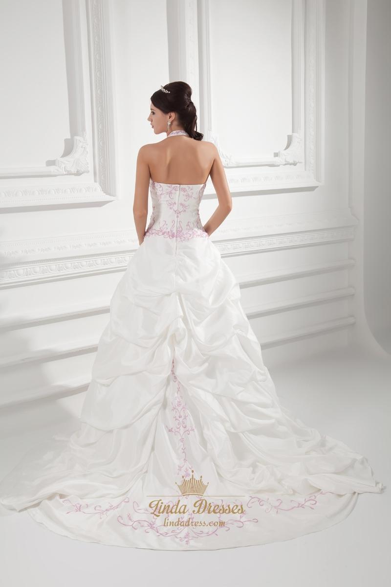 Ivory A-Line Halter Satin Pickup Wedding Dress With Pink ...