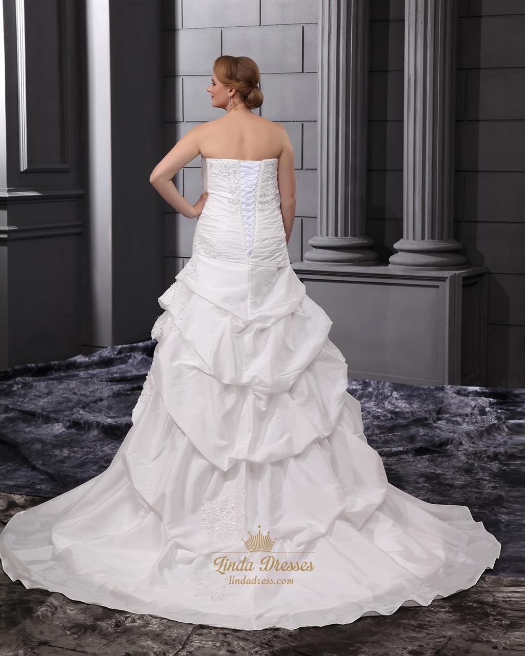 Ivory Plus Size Strapless Taffeta Pick Up Wedding Dresses