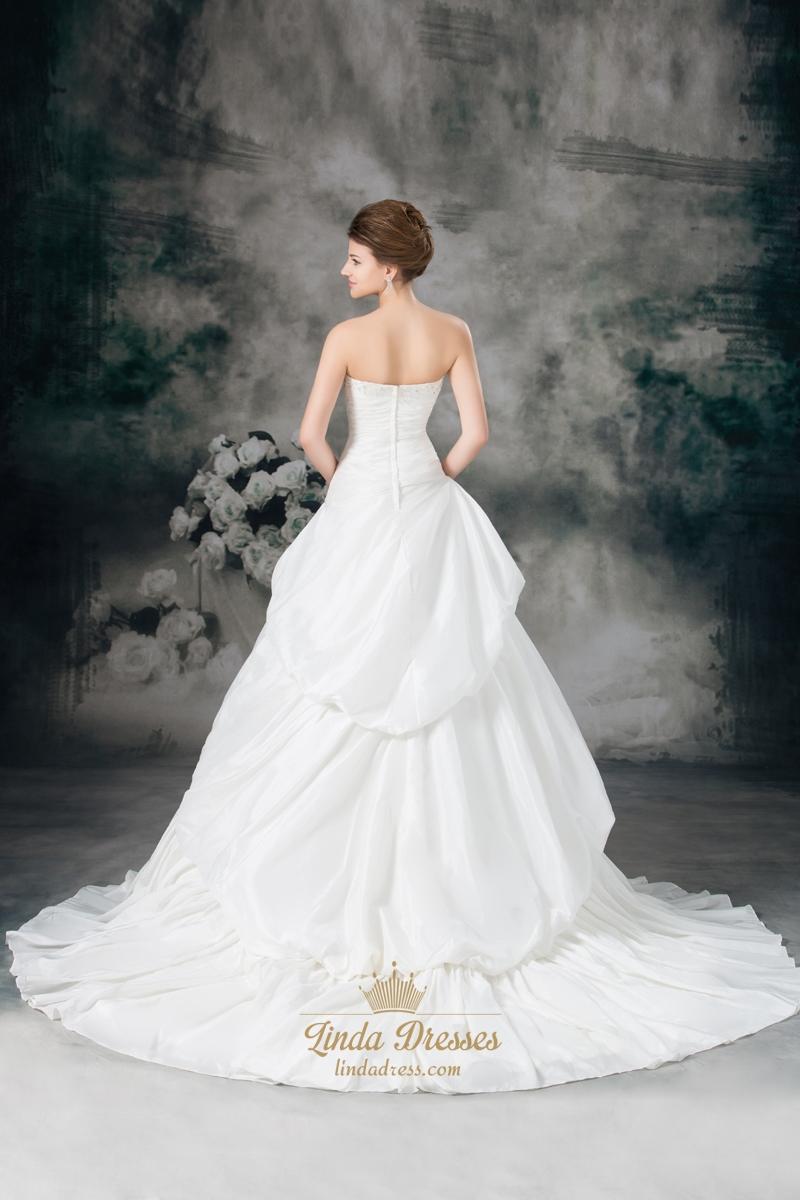 Ivory a line taffeta strapless wedding dresses with for A line ivory wedding dress
