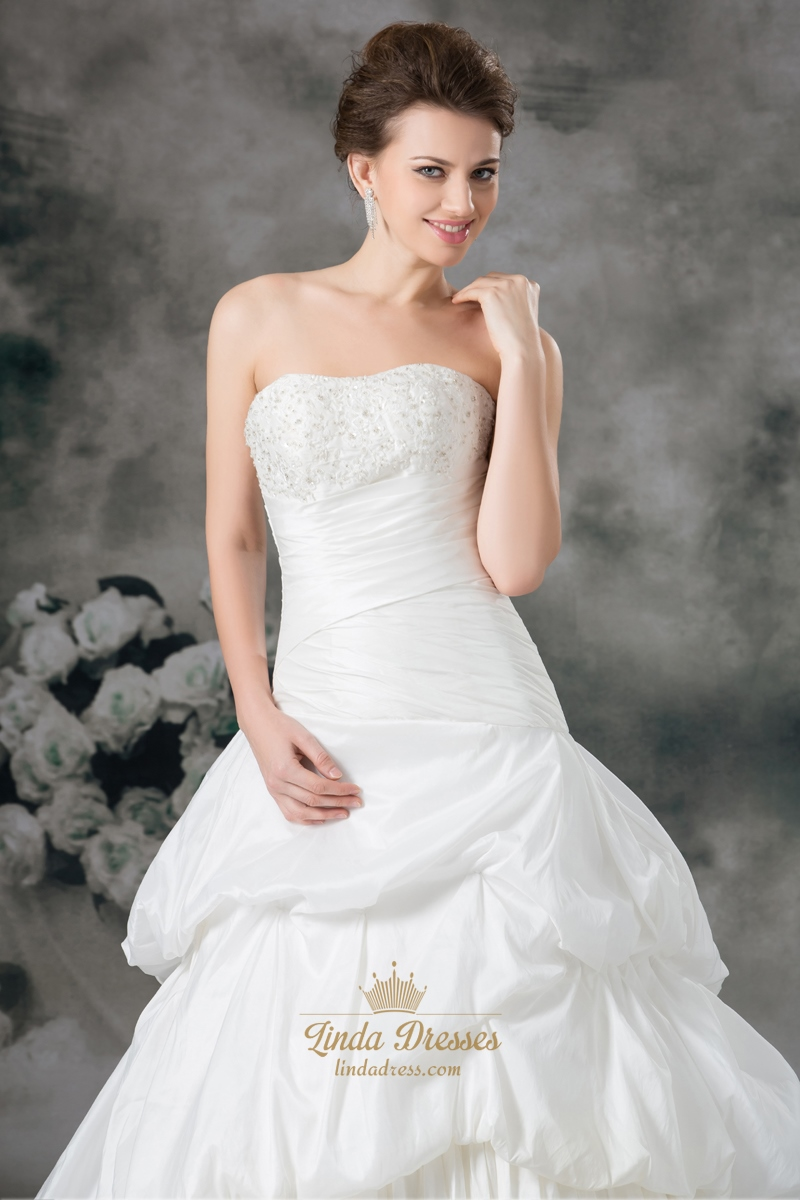 Ivory a line taffeta strapless wedding dresses with for Strapless taffeta wedding dress