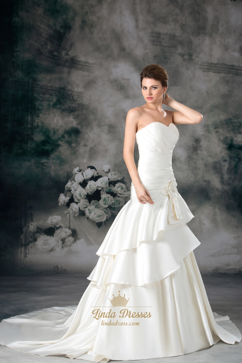 Ivory Sweetheart Strapless A Line Wedding Dresses With