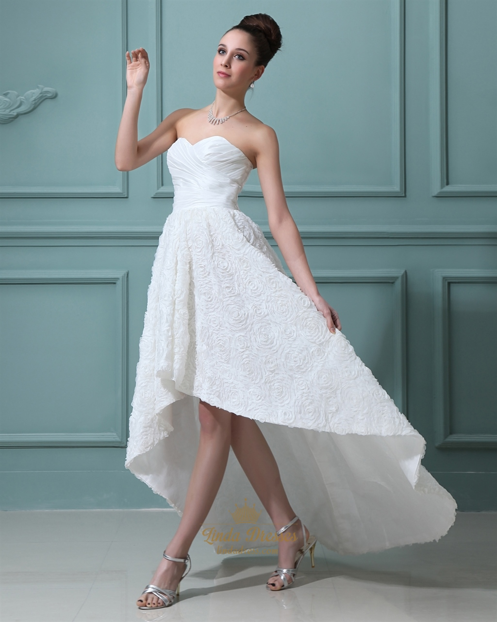 Ivory Taffeta Sweetheart High Low Wedding Dresses With