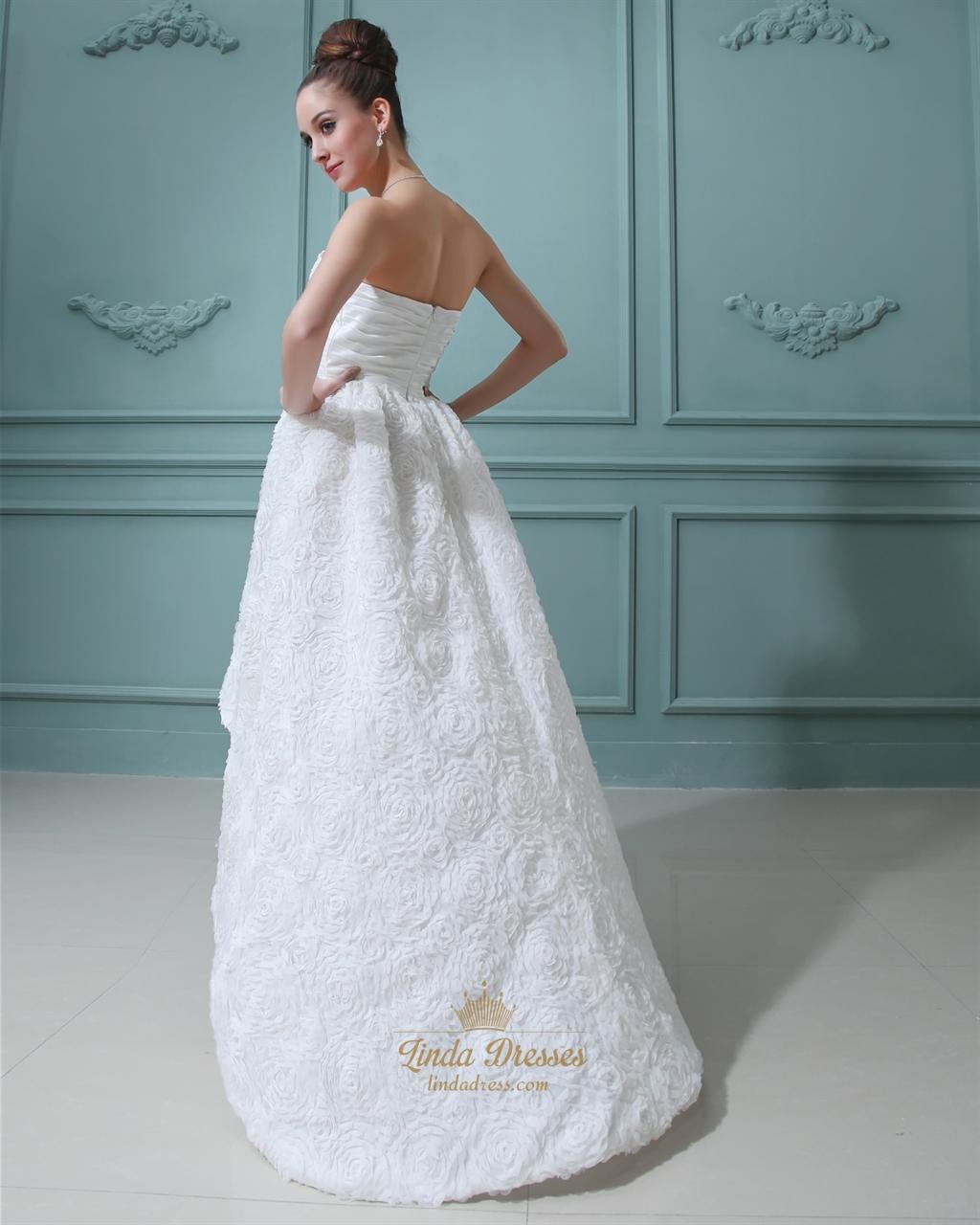 Ivory taffeta sweetheart high low wedding dresses with for High low sweetheart wedding dress